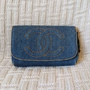 Vintage Chanel Denim Cosmetic Pouch